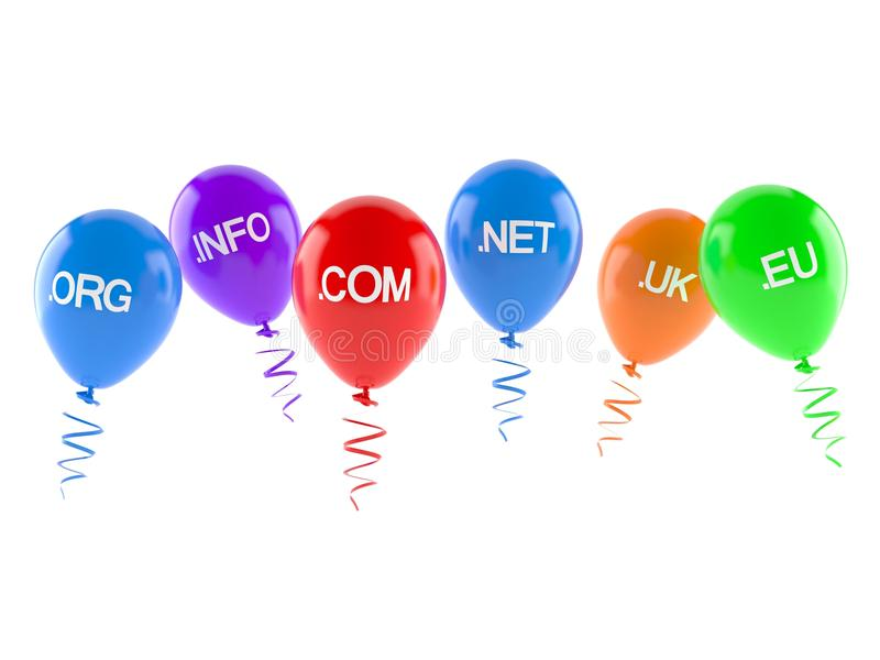 Domains with balloons stock illustration