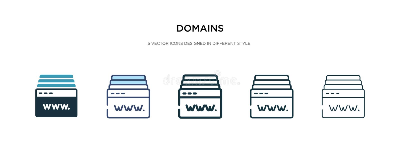 Domains icon in different style vector illustration. two colored and black domains vector icons designed in filled, outline, line vector illustration