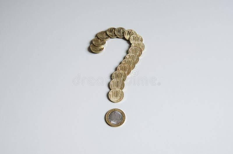 Domanda dei soldi La rublo conia il punto interrogativo Elemento di progettazione di finanza fotografie stock libere da diritti