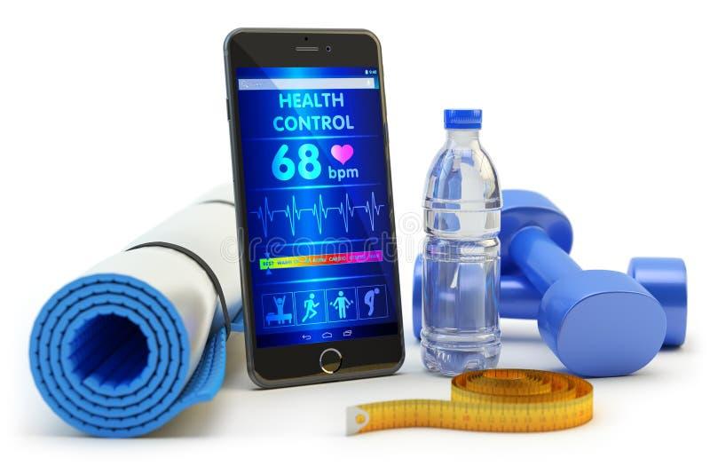 Domanda del telefono cellulare di monitoraggio di salute dopo l'addestramento di attività di sport e l'allenamento di forma fisic illustrazione vettoriale