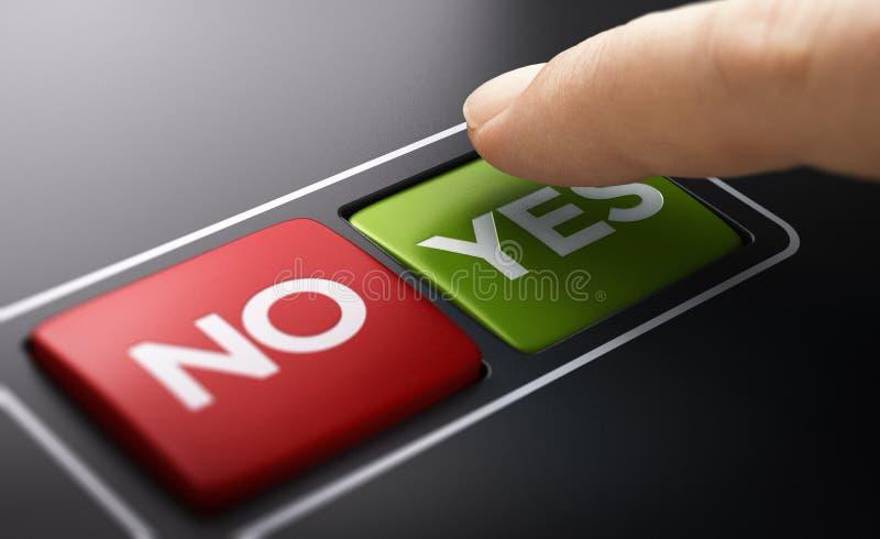 Domande dicotomiche Sì No Pulsanti, Voto fotografia stock