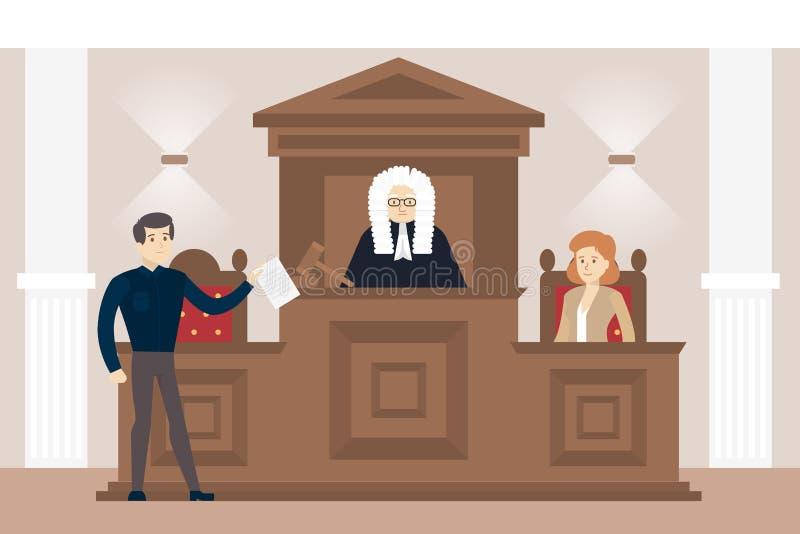 Domare In Court vektor illustrationer