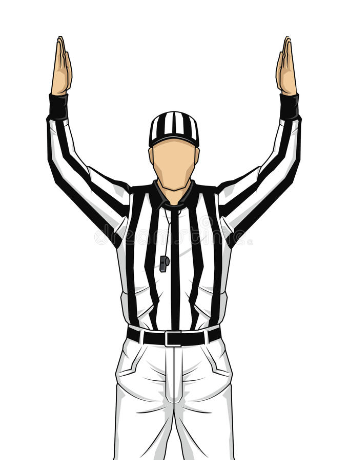 Domare för amerikansk fotboll med båda händer upp som en landningsögonblickvect stock illustrationer