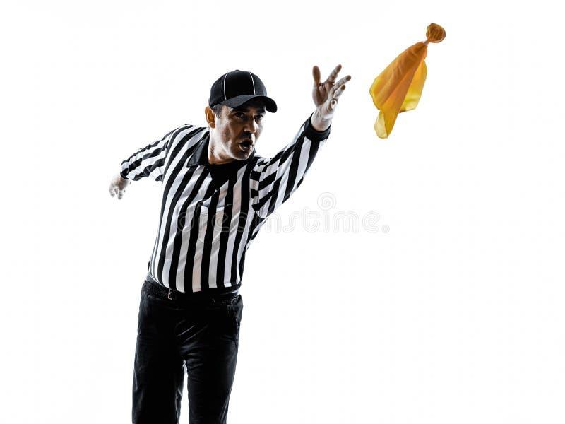 Domare för amerikansk fotboll som kastar konturn för gul flagga royaltyfri foto