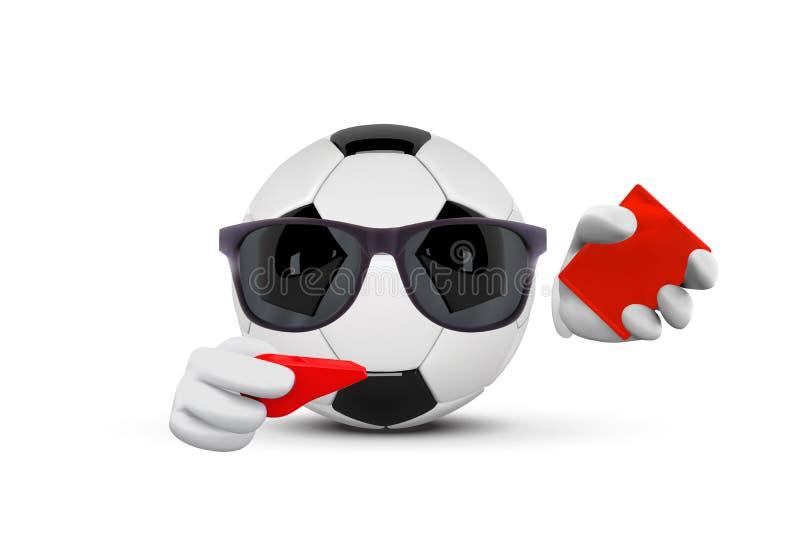 Domare för tecken för maskot för tecknad film för fotbollboll som ansiktslösa pekar och visar det röda kortet Vektorillustration  vektor illustrationer