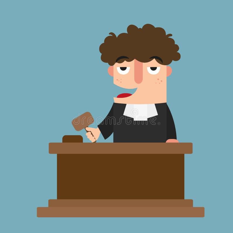 Domare med auktionsklubban royaltyfri illustrationer