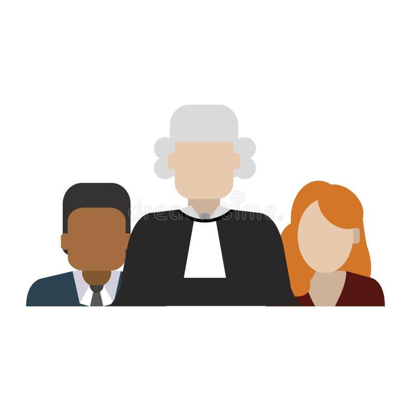 Domare och advokater royaltyfri illustrationer