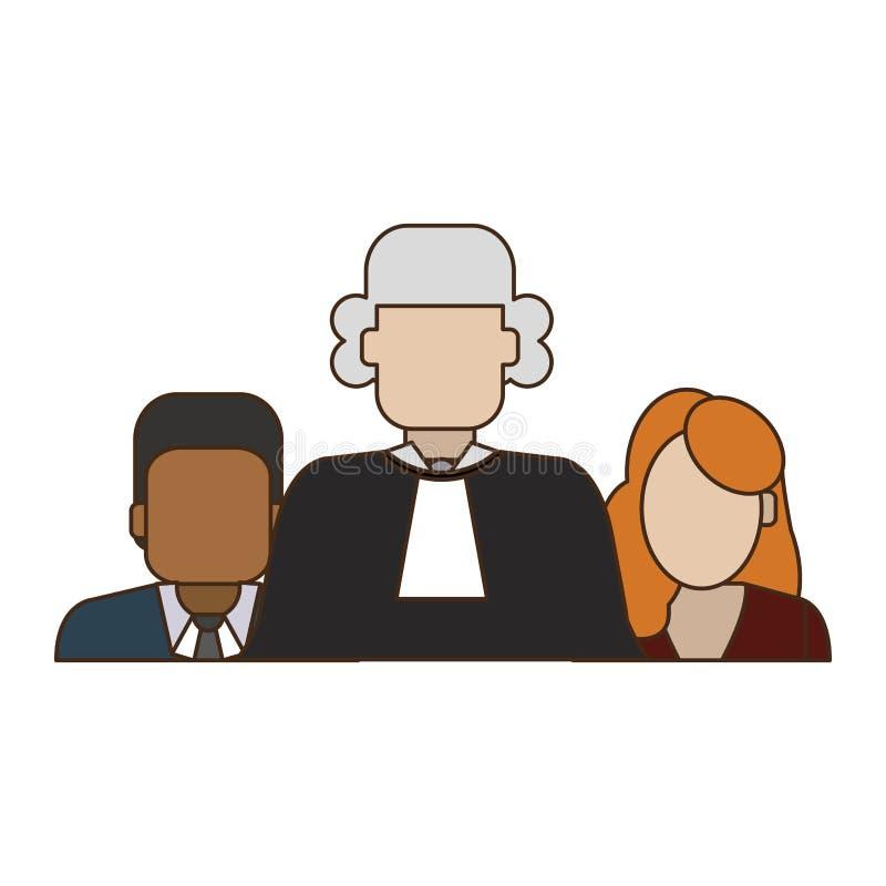 Domare och advokater stock illustrationer
