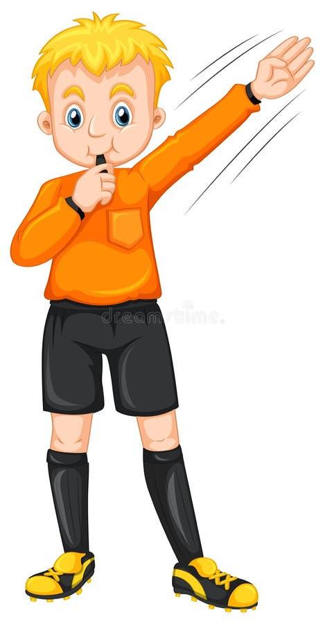 Domare som blåser visslingen och gör gest vektor illustrationer