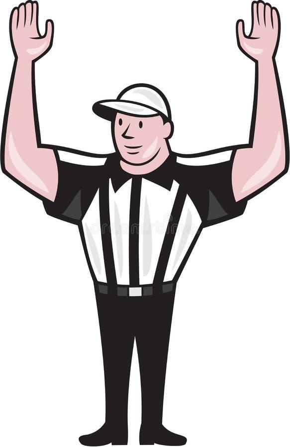 Domare Touchdown Cartoon för amerikansk fotboll royaltyfri illustrationer