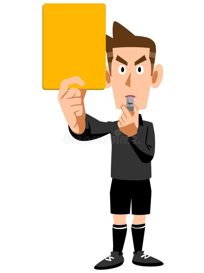 Domare Warning för gult kort stock illustrationer