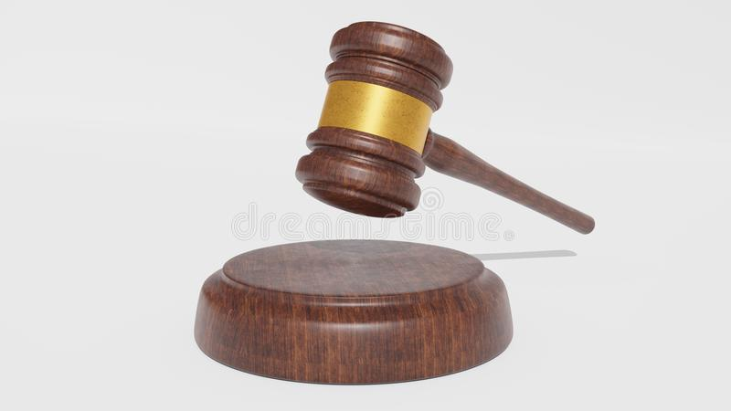 Domare Wood Hammer på vit bakgrund gavel 3d framför royaltyfria foton
