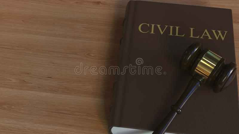 Domareauktionsklubba på CIVILRÄTTboken begreppsmässigt framförande 3d stock illustrationer