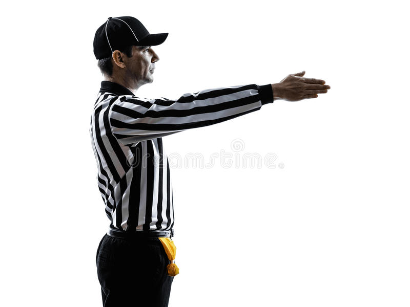 Domaren för amerikansk fotboll gör en gest den första ner konturn royaltyfria bilder