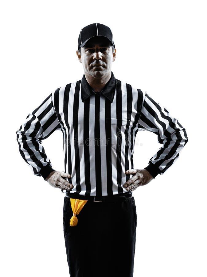 Domaren för amerikansk fotboll gör en gest den offside- konturn arkivfoto