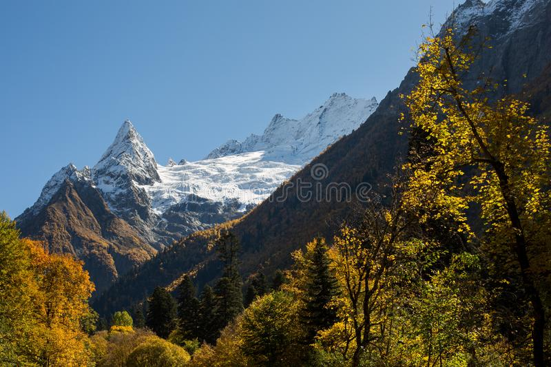 Dombay-Ulgen mountain and valley. At atumn in Dombay, Russia royalty free stock photography