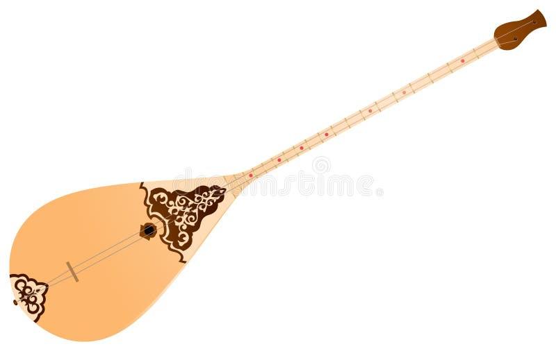 Dombra, instrumento musical tradicional ilustración del vector