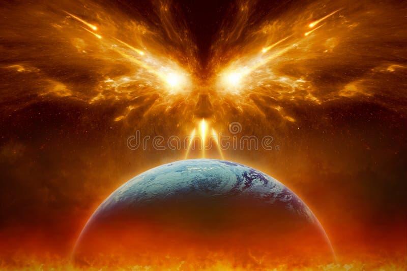 Domdag, slut av världen, färdig förstörelse av planetjord royaltyfri bild