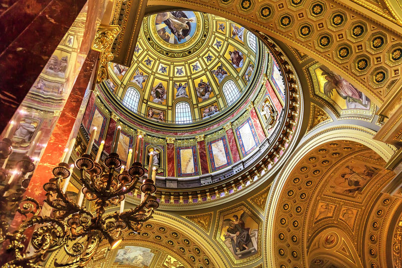 Dome Basilica Arch Saint Stephens Cathedral Budapest Hungary stock image