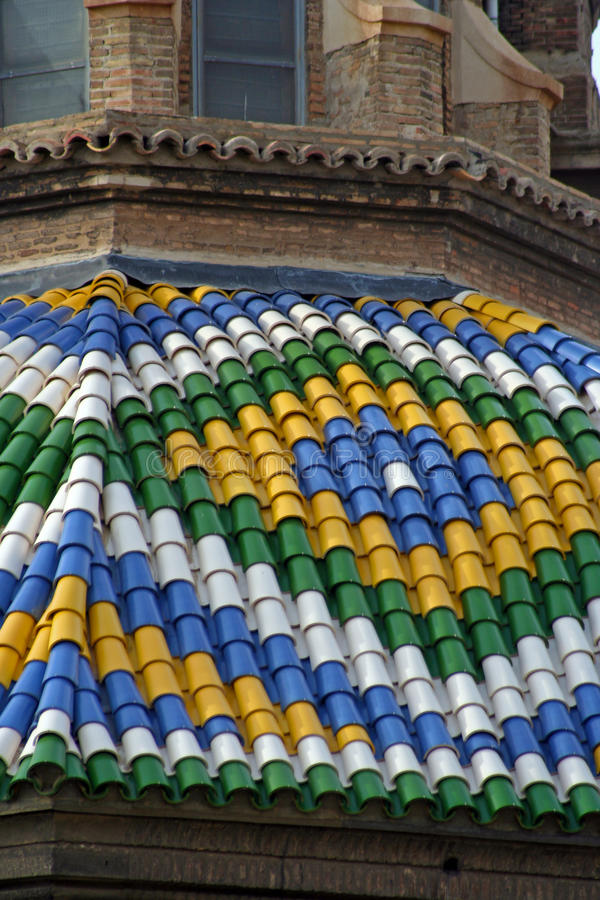 Dome of the Basilica del Pilar. Detail of the dome of the Basilica del Pilar in Saragossa, Spain royalty free stock images