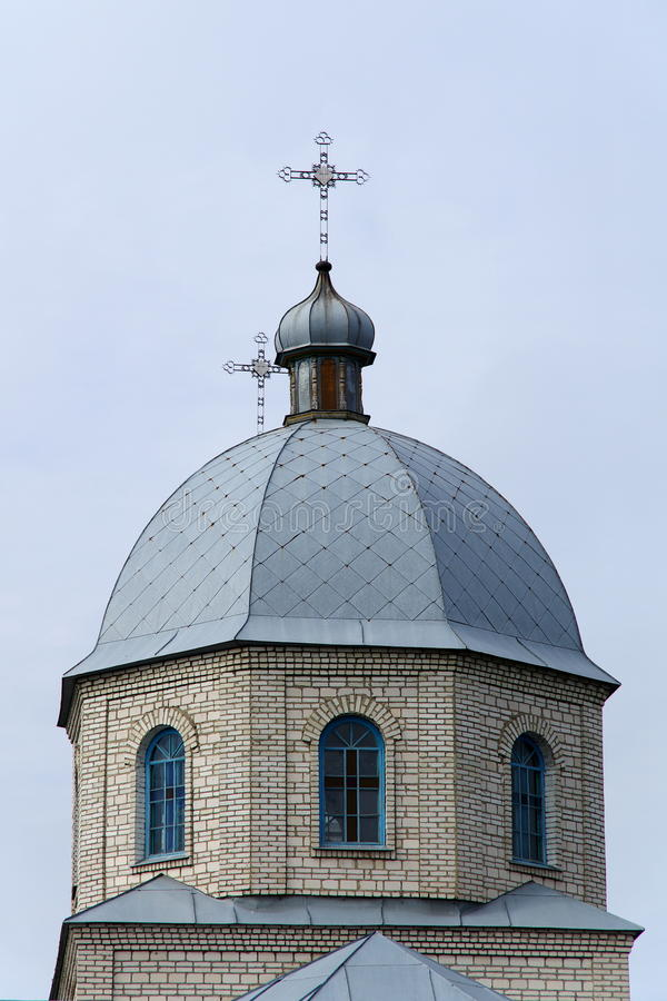 Dome. Building with crosses of Christian orthodox church community royalty free stock photography