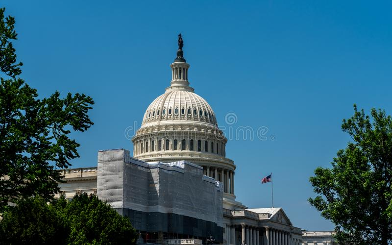 Dome of Capital building framed by trees royalty free stock photo