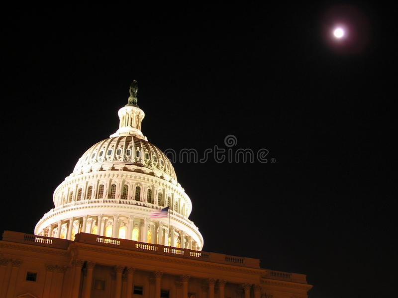 Dome of the Capitol (Congress) building by night royalty free stock images