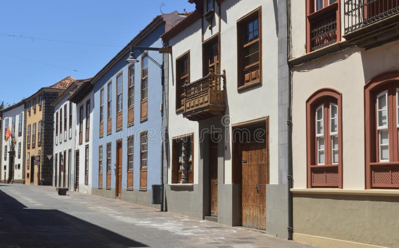 Colonial houses.tenerife. Colonial style houses in la laguna. Tenerife. canary islands stock photos