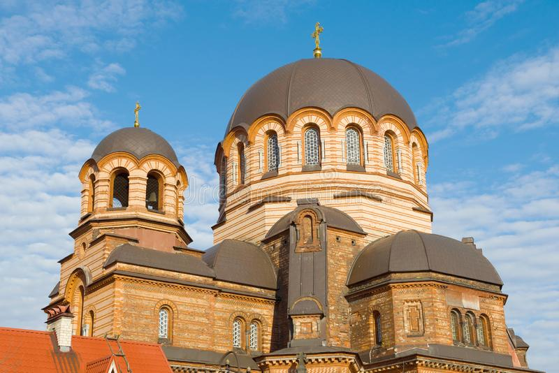 Dome of cathedral of Lord Revival close-up in the sunny day. Narva, Estonia. Dome of cathedral of Lord Revival close up in the sunny day. Narva, Estonia stock image