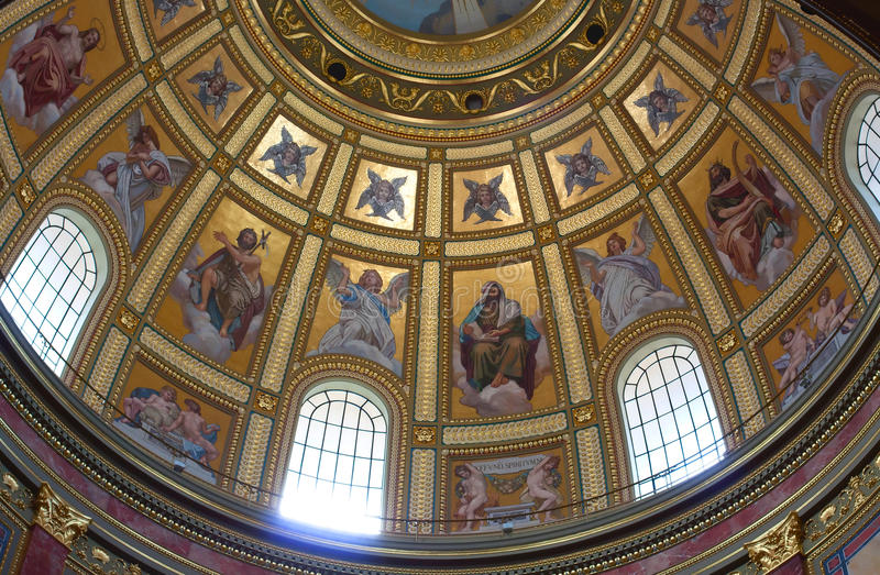 Dome of Catholic Church. View of the dome Catholic Church inside stock photo