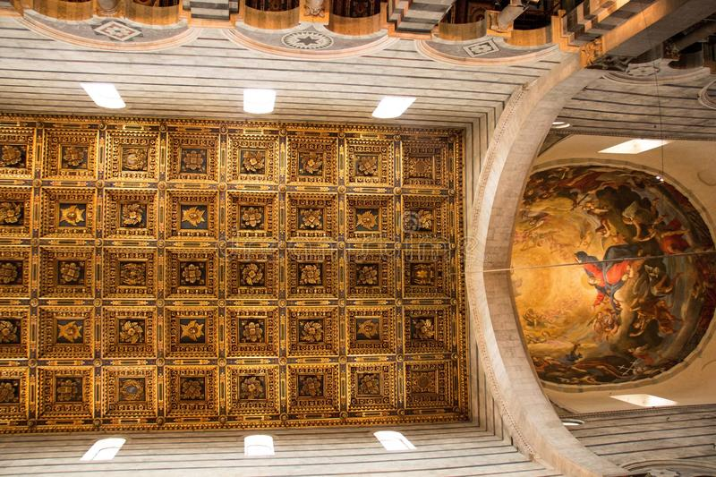 Pisa, Italy - May 24, 2018: Dome and ceiling inside of Roman Catholic Pisa Cathedral at Piazza dei Miracoli Piazza del Duomo stock photos
