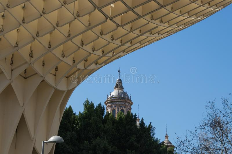 Dome of the Church of the Immaculate Conception, Seville, Spain. Dome of the Church of the Immaculate Conception seen from the Setas de Sevilla, Seville, Spain royalty free stock photos