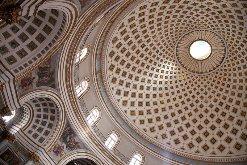 Dome of church at Mosta. Dome of St. Mary church at Mosta. Third dome of Europe by size. Malta royalty free stock images