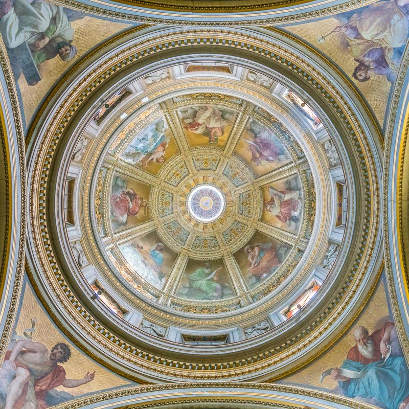 The dome in the Church of Santa Maria in Aquiro, in Rome, Italy. Santa Maria in Aquiro is a church in Rome, Italy. It is dedicated to Mary, mother of Jesus, and royalty free stock photos