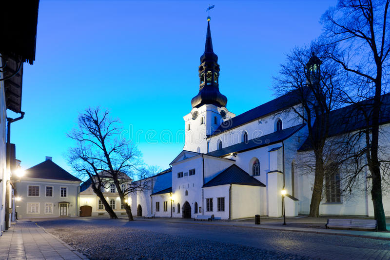 Dome church in Tallinn. Old Dome Church in Toompea area of Tallinn in Estonia at dusk stock images