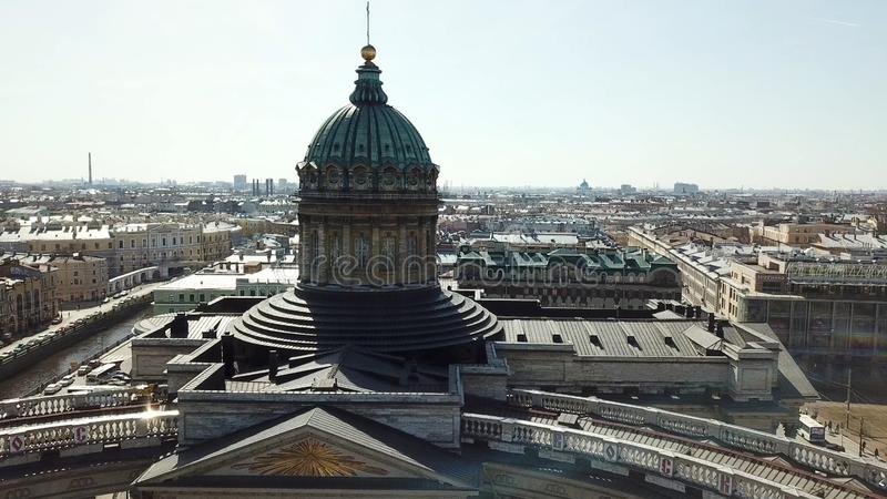 Dome and columns of the Kazan Cathedral in St. Petersburg Russia. Aerial view on Saint Petersburg city, Russia stock photo
