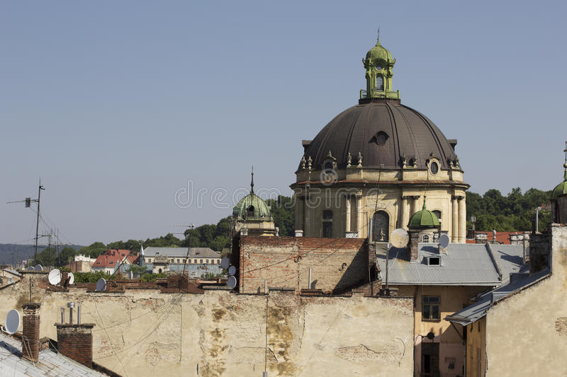 Dome of the Dominican Cathedral in Lviv royalty free stock images