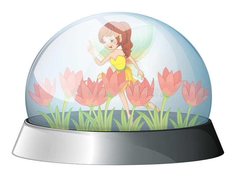 A dome with a fairy in the garden inside. Illustration of a dome with a fairy in the garden inside on a white background royalty free illustration