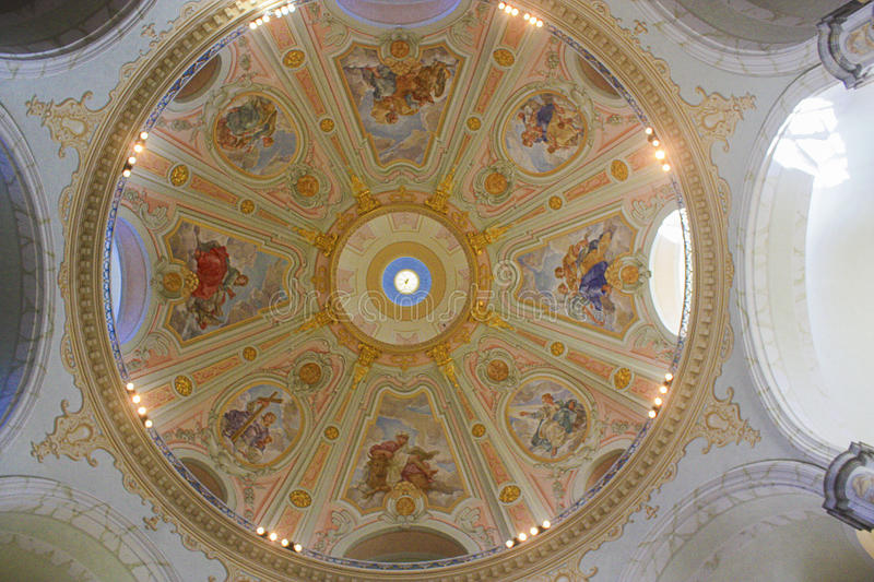 Dome with frescoes in the famous Dresden Frauenkirche - Dresden, Germany - 11.09.2013. stock images