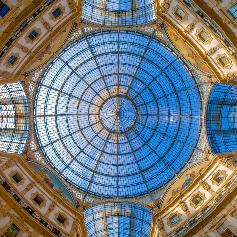 Dome in Galleria Vittorio Emanuele, Milan, Italy. Dome in the center of Galleria Vittorio Emanuele II, Milan, Lombardy, Italy, southern Europe, shopping mall stock image