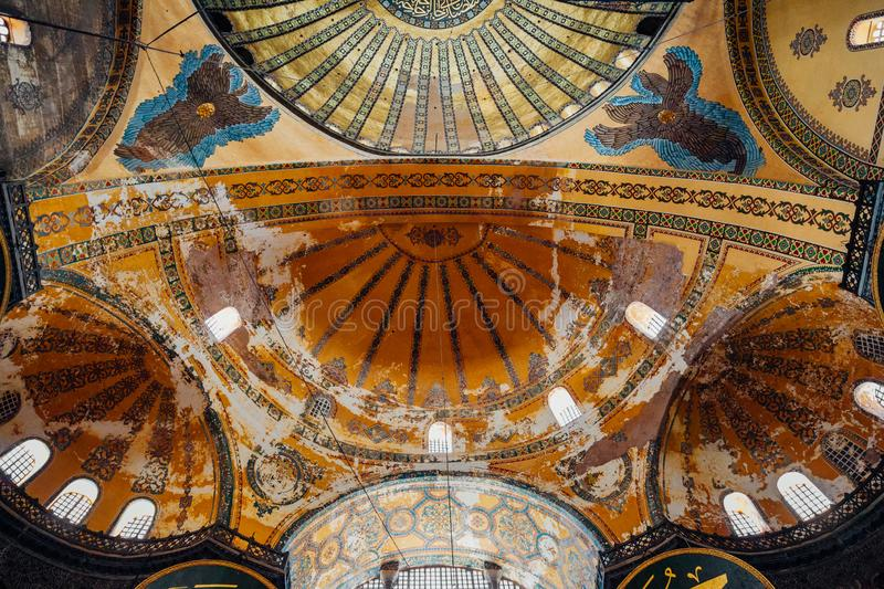 The dome of the Hagia Sophia Museum, Istanbul, Turkey royalty free stock photo