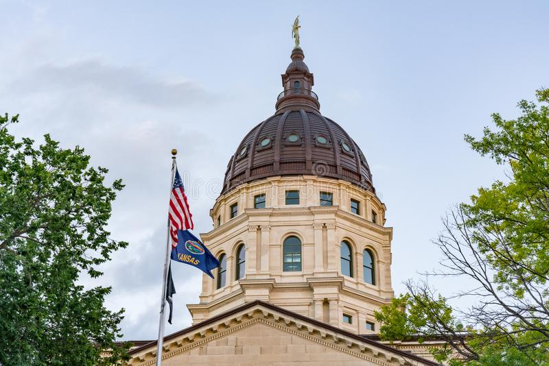 Dome of the Kansas State Capital Building stock image