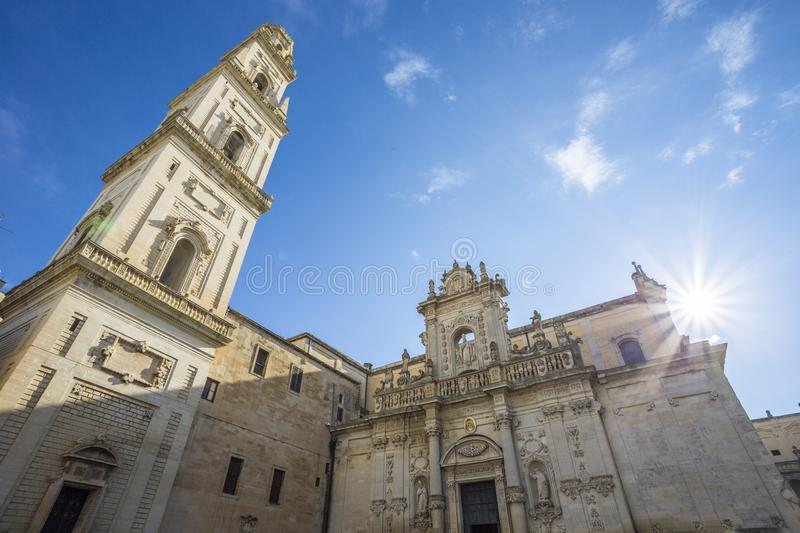 The dome of Lecce. View of the facade of the dome of Lecce, Italy stock photos