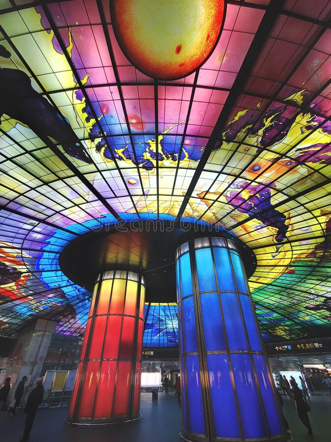 Dome of light is in Kaohsiung, Taiwan. Fomosa Station. royalty free stock photos