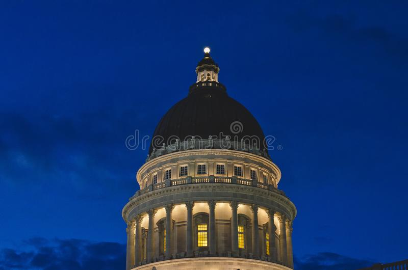 The dome lights of the utah state capitol stock images