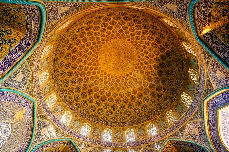 Dome of Lotfollah mosque in Esfahan - Iran stock images