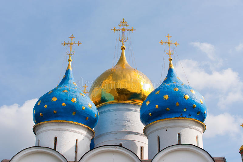 The dome of the main cathedral of the Trinity-Sergius Lavra in Russia. Sergiev Posad - Russian Orthodox center located not far from Moscow. This is one of the stock image
