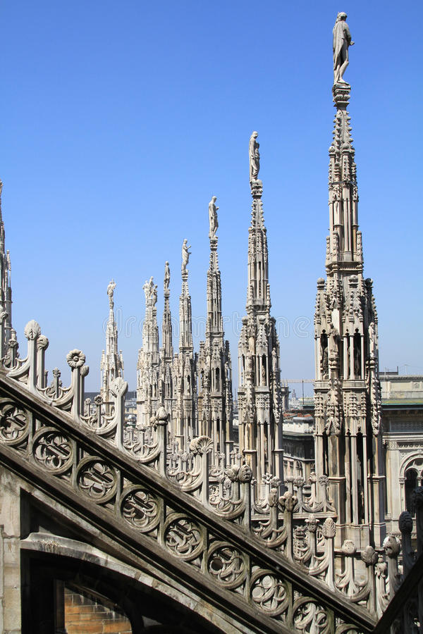 The dome of Milan In Italy. Details of the dome of Milan after the long restauration royalty free stock photo