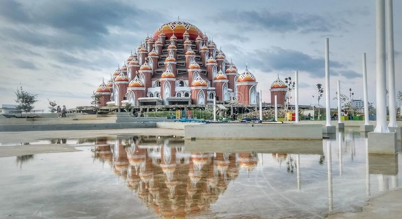 99 dome mosque, one of the landmarks of Makassar city, South Sulawesi province, in Indonesia. royalty free stock photo