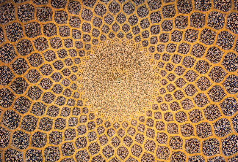 Dome of the mosque, oriental ornaments, Isfahan stock image